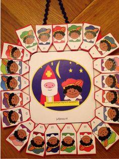 Aftelkalender: variant -> als alle pieten op de stoomboot zitten, kan de Sint vertrekken!