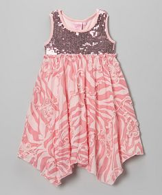 Take a look at this Pink Sequin Handkerchief Dress - Girls by Lipstik Girls on today! Cute Girl Outfits, Little Girl Dresses, Kids Outfits, Girls Dresses, Pink Sequin Dress, Sewing For Kids, Sewing Ideas, Handkerchief Dress, Dress Patterns