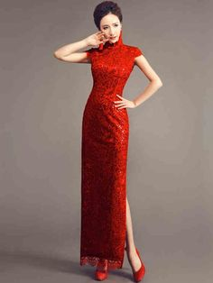 Red Ankle-length Sequined Cheongsam / Qipao Wedding Dress