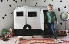 This DIY cardboard airstream camper playhouse just might be the coolest playhouse I've ever seen!