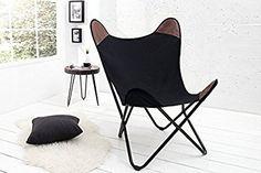 DuNord Design Sessel Stuhl TEXAS schwarz Leinen Loungesessel Esszimmer Butterfly Klappstuhl