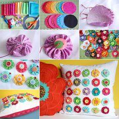 Who Will Make This Multi Colored Yo-Yo Pillow? - http://www.amazinginteriordesign.com/who-will-make-this-multi-colored-yo-yo-pillow/