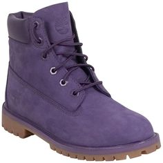 Timberland Women's Premum 6-Inch Boot ($130) ❤ liked on Polyvore featuring shoes, boots, purple, laced up boots, purple boots, waterproof boots, timberland shoes and laced boots