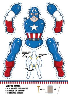 America goes Jumping Jack Captain America Jumping jack template. Another cool superhero puppet. Another cool superhero puppet. Superhero Classroom, Superhero Party, Superhero Template, Paper Puppets, Paper Toys, Anniversaire Captain America, Captain America Party, Capt America, Jumping Jacks