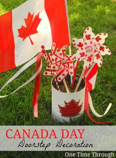 Celebrate Canada Day with a kid-made decoration for the front of the house. {One Time Through}