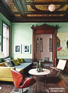 The painted palace. Ditte Lamptey's Copenhagen home is far from typical of Danish apartments. The ornate ceilings - a different design in every room - are worthy of Versailles, while the elaborate doorframes and dark wood paneling wouldn't look out of place in a Tudor palace.