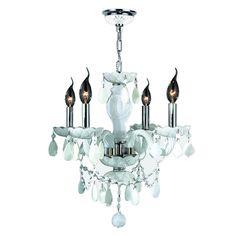 "Venetian Italian Style 4 Light Chrome Finish and White Crystal Chandelier Medium 17"" x 18"""