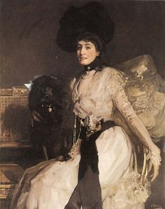 The Black Poodle by Sir John Lavery (Irish 1856-1941) ....although Irish, Lavery spent much of his formative life and career in Scotland and was a central figure of The Glasgow Boys...