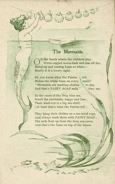 A vintage Fairy Soap ad featuring a mermaid story. Waldorf Crafts, The New School, Peaceful Parenting, Family Traditions, Storytelling, Farmhouse Style, Childrens Books, Activities For Kids, Homeschool