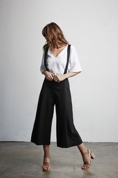 Suspenders make life more fun! Culottes & Blouse by Vetta Capsule - Shop here:  www.vettacapsule.com  #vettacapsule #ss16 #madeinusa