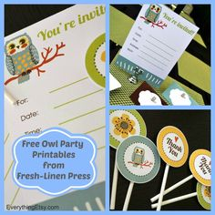 Free Owl Party Printables from Fresh-Linen Press