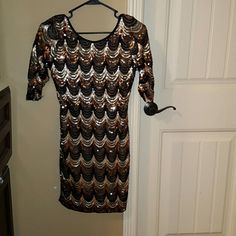 Sequined dress Brown tan gold and black very pretty dress..you will get many compliments on it when worn...its an eye catcher ;) agaci Dresses Mini