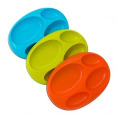 Boon Platter Edgeless Nonskid Divided Plate, Blue/Orange/Green includes 3 pieces Three color set Unique edgeless design 4 divided sections Slip-resistant base Top rack dishwasher safe Divided Plates, Baby Plates, Tray, Platter, Baby Store, Teller, Plate Sets, Green And Orange, Baby Feeding