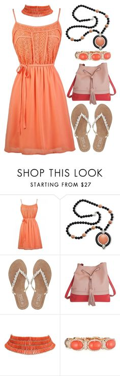 """""""Coral"""" by tlb0318 ❤ liked on Polyvore featuring Kenneth Jay Lane, M&Co, Lodis and Verdi"""