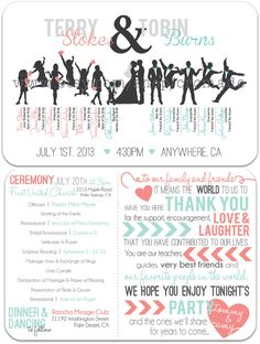 Digital/Printable Wedding Program  Jumping Bridal Party by CRCmade, $75.00