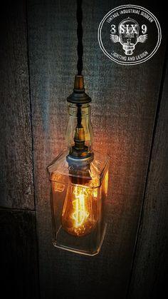 Whiskey Bottle Pendant Light...Hanging Bottle Lamp by 8SIX9Design