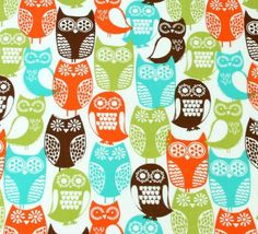 Michael Miller Fabric Swedish Owls Brown 1 by HomeGrownPillows