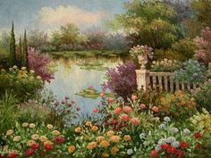 Rose Garden Oil Painting Garden Oil Paintings  Garden oil painting