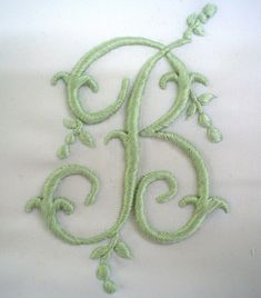 Hand Embroidered Monogram ~B~ Embroidery Letters, Ribbon Embroidery, Cross Stitch Embroidery, Machine Embroidery, Embroidery Designs, Monogram Design, Monogram Fonts, Monogram Letters, Linens And Lace