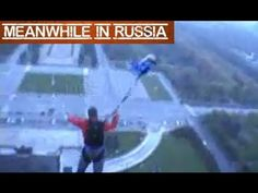Russian College Students Leaving Campus With A Parachute