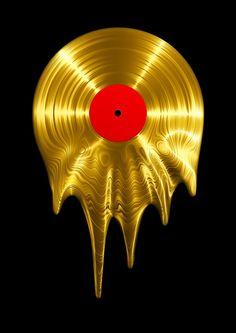Melting vinyl GOLD / render of gold vinyl record melting Metal Print by grandeduc Arte Do Hip Hop, Melting Metal, Diy Foto, Iphone Skins, Vinyl Records, Vinyl Music, Dj Music, Retro, Framed Art Prints