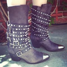 Rock and Roll is NOT dead! The Kravitz, our new spiked boot, agrees. Get em at Lorin Shoes! #jeffreycampbell  (Taken with Instagram)