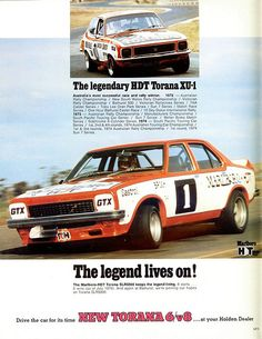 Covers Peter Brock driving the latest Holden SLR 5000 Torana Race Car that won alot of races for Brocky. Australian V8 Supercars, Australian Muscle Cars, Aussie Muscle Cars, Holden Torana, Holden Australia, Cars Series, Car Posters, Sports Sedan, Car Advertising