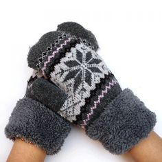 Men Outdoor Cycling Geometric Print Full Finger Gloves Winter Knitted Mittens New Back To Search Resultsapparel Accessories
