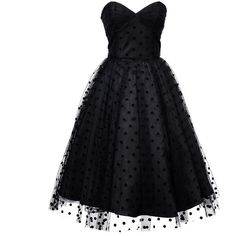 Iconic by UV 1950s Black Swiss Dot Dandridge Strapless Swing Dress ($98) ❤ liked on Polyvore featuring dresses, black, short dresses, vintage swing dress, black polka dot dress, black cocktail dresses and black swing dress