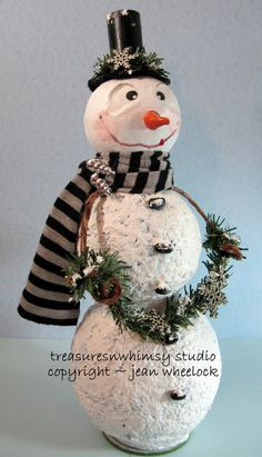 Handmade Whimsical Folk Art Character Snowman by Treasuresnwhimsy, $46.00