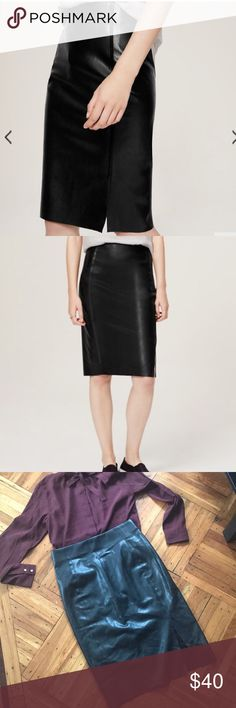 """Ann Taylor Loft Faux Leather Pencil Skirt - Black Very sexy and flattering. Only worn once.  PRODUCT INFORMATION  Crafted in luxe faux leather, vegan leather, this sleek pencil gets just-edgy-enough.  Elasticized waist.  Waist darts.  Side slit 8"""" long Back zip. 24"""" long.  FABRIC, FIT & CARE STYLE  100% POLYURETHANE IMPORTED MACHINE WASHABLE LOFT Skirts Pencil"""