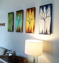Four Seasons of Change Tree Paintings on Reclaimed Wood