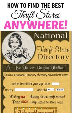 10 Thrift Store Shopping Secrets You Should Know (like how to find the best thrift stores in town using the National Thrift Store Directory)...