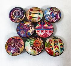 Set of 8 boho gypsy print wood drawer knobs. These wood knobs are wide and have been stained English Chestnut with a decoupage boho pattern. These knobs are made with high quality digital images Dresser Knobs, Cabinet Knobs, Cabinet Hardware, Door Knobs, Boho Kitchen, Rustic Kitchen, Kitchen Decor, Kitchen Ideas, Kitchen Design