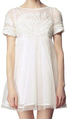 White Short Sleeve High Waist Princess Embroidered Floral Dress