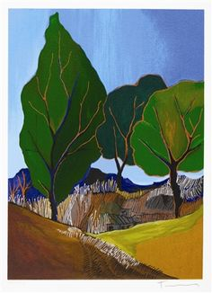 164222 Tarkay, Itzchak Silent Hillside 2006 x 9 Serigraph in color on woven paper. Park West Gallery I have this one Post Impressionism, Art Academy, Painting Lessons, Famous Artists, American Artists, Art And Architecture, Artist At Work, Contemporary Art, Gallery