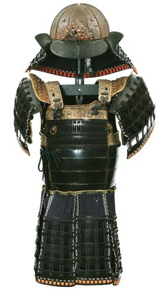 Partial Armour. Unsigned. Edo period. Comprising twelve plate suji-bachi kabuto with downturned mabizashi mounted with a maedate in the form of a dragon, four lame shikoro with small fukigayeshi (pitted, tehan kanemono missing), lacquered iron...
