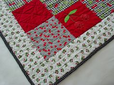 Cheerful Check & Cherries Lap Quilt - Sized for Chair Use. $50.00, via Etsy.