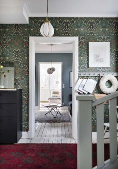 Hallway with William Morris wallpaper in a beautiful Swedish house dating back to the William Morris Wallpaper, Morris Wallpapers, Wallpaper Azul, Wallpaper In Hallway, Living Room Wallpaper, Pattern Wallpaper, Wallpaper Quotes, Oval Room Blue, 1920s House