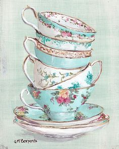 Ready to Frame Print - Aqua Themed Stacked Tea Cups - Postage is included Australia Wide