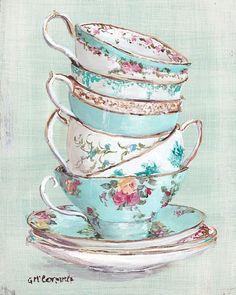 Listo para enmarcar Impresión - aguamarina temáticos Stacked Tea Cups - franqueo incluido Australia ancha