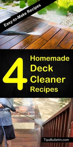 Find out how to clean your deck and outdoor area with 4 homemade deck cleaner recipes. Perfect cleaning tips on how to make a mildew and algae, murphy's oil mildew cleaner as well as bleach or soapy deck scrub. Ideal for manual or pressure washer use. #deckcleaning #scrub #patio #cleaner