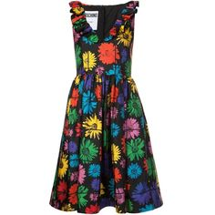 Moschino V-neck Floral Print Dress (83,255 INR) ❤ liked on Polyvore featuring dresses, floral dresses, mid length dresses, v neck sleeveless dress, v-neck dresses and v neck dress
