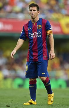 Lionel Messi of Barcelona looks on during the La Liga match between Villarreal CF and FC Barcelona at El Madrigal stadium on August 31, 2014 in Villarreal, Spain.