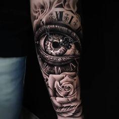 12 Tattoos, Full Arm Tattoos, Baby Tattoos, Time Tattoos, Tattoos For Guys, Realistic Tattoo Sleeve, Leg Sleeve Tattoo, Best Sleeve Tattoos, Ojo Tattoo
