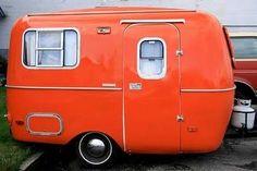 vintage orange camper/trailer (1970's Burro?)