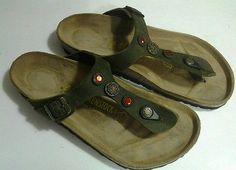 Birkenstock GIZEH Rhinestone Stone Slide Sandal 39 9 9,5 Olive Oiled Leather