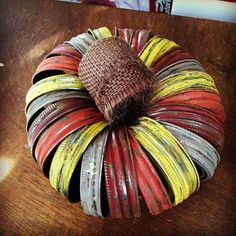 Pumpkin made out of old mason jar rings