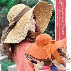 Summer Ladies Sun Hats For Women 2014 UV Protection Straw Caps Fashion Girls Straw Beach Hats & Caps CP14T04 $11