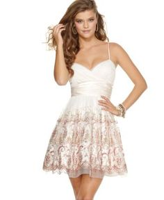 Morgan & Co. Dress, Sleeveless Sweetheart Ruched Tulle Glitter Paisley Corset Lace-Up Mini - Juniors Dresses - Macy's